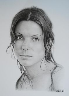 A stunning charcoal portrait of the incredible Sandra Bullock.