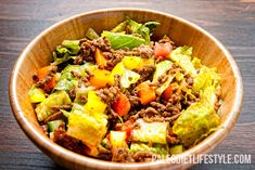 """Lesson 1 in dealing with the unbearable heat of the summer - cook simply. Here's a delicious recipe for Taco Salad that satisfies just that! "" (Paleo Diet Lifestyle)"