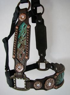 Tuquoise/Brown Inlaid Halter with Copper Flower Conchos by Running Roan Tack Barrel Racing Tack, Barrel Saddle, Barrel Horse, Horse Halters, Horse Bridle, Horse Gear, Western Horse Tack, Cowgirl And Horse, Baby Horses