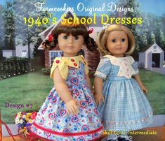 PDF Sewing Pattern for American Girl Dolls -1940's School Dresses / Sewing Pattern Kit, Ruthie and Molly