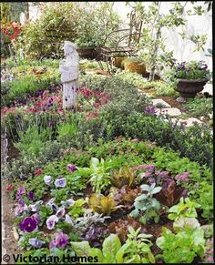 Victorian Garden Ideas: From a miniature orchard to a moveable feast, create magic in a small spring garden with tips from designers who look to the past for inspiration. Victorian Gardens, Victorian Life, Victorian Cottage, Victorian Homes, Cottage Garden Design, Garden Landscape Design, Cottage Gardens, Garden Landscaping, St Francis Statue