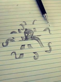 optical illusion drawings on lined paper - Google Search