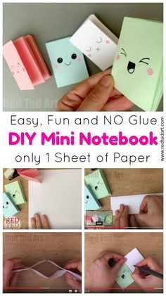 "DIY Mini Notebook From A Sheet Of Paper - these little notebooks are super fun to make and all you need is a sheet of paper. They are clever ""paper magic"".... make one, make a 100 and decorate them which ever way you want. How to make a notebook with no g"