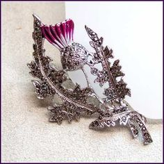 Antique Marcasite Pin, Thistle Flower 1940s
