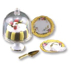 Glass Dome Cake Stand Set | Mary's Dollhouse Miniatures high quality 20.