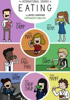 The Sounds People Make When Eating Illustrated in Different Languages