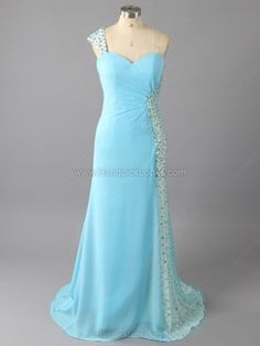 Chiffon One Shoulder Beading Prom Dresses