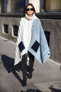Poncho winter street style outfit #winter #looks #poncho