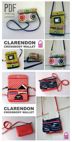 Clarendon Crossbody Wallet sewing pattern Fantastic wallet sewing pattern that has it all. This bag is full of features and very versatile. Wear it as a shoulder bag or crossbody bag. Use it as a small purse. Leave off the strap and use it as a clutch bag Clutch Bag Pattern, Wallet Sewing Pattern, Bag Patterns To Sew, Sewing Patterns Free, Sew Wallet, Diy Sac, Crossbody Wallet, Sewing Projects For Beginners, Purses And Bags