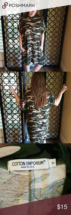 GREEN CAMO TSHIRT FEEL COMFY DRESS EUC, NO FLAWS. Purchased at Nordstroms. Runs large. Would fit up to a size 14. Measurements: bust is 38 inches, length is 38 inches. Sleeve length is 10 inches. Has pockets. cotton emporium Dresses