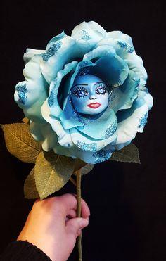 Alice in Wonderland Turquoise Rose Flower by CreartiveStudios
