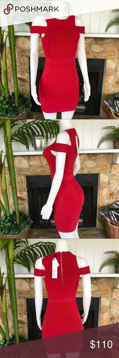 NWT Parker Red Cold Shoulder Ribbed Knit Bodycon Super flattering and sexy Parker dress. NWT. Parker Dresses Mini