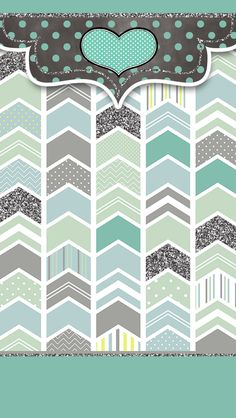 Cute Custom iPhone Wallpaper Android Background Teal Green Silver Glitter Polka Dots Stripes Chevron Heart Graphic Design Freebies!