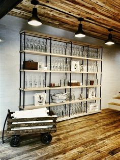 Casa del Agua - Love the shelves with the light wood and steel combined with the rustic wood floors. Cafe Design, Store Design, House Design, Industrial Interiors, Industrial House, Industrial Design, Industrial Shelves, Rustic Industrial, Rustic Wood