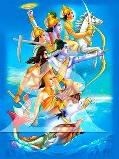 Dashavatar - 10 Avatars of Hindu God Lord Vishnu Shiva Art, Krishna Art, Hindu Art, Hare Krishna, Lord Krishna Images, Radha Krishna Pictures, Om Namah Shivaya, Krishna Avatar, Buddha