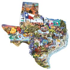 """Welcome to Texas"" Shaped 1000 Pc Jigsaw Puzzle Art by Lori Schory made in the U. WE ARE GREEN - we use recycled cardboard and soy based inks (NO LEAD) Most dies are RANDOM dies with different shaped pieces throughout Approx 1000 pieces x"