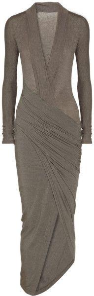 Donna Karan New York Gray Draped Wrapeffect Jersey Dress