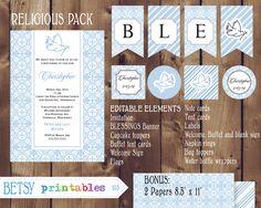 Religious celebration Kit Baptism Christening by BetsyPrintables