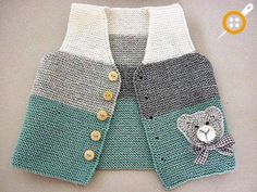 Baby Knitting Patterns Cardigan Hand knit baby vest /cardigan / with Teddy.Handgestrickte Babyweste / Strickjacke - Diy StillDiscover thousands of images about Ayşen YalınızBebe Yeleği, baby waistcoat, bKnit baby vest, garter stitch with pompoms, Baby Knitting Patterns, Knitting For Kids, Hand Knitting, Cardigan Bebe, Knitted Baby Cardigan, Knit Vest, Pull Bebe, Pullover Outfit, Diy Bebe