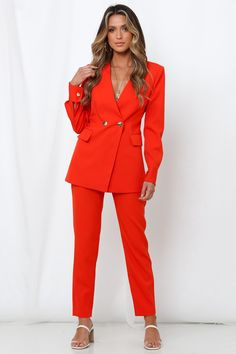 Reach your new season's fashion goals in brightly coloured hues and don the I'll Take You There Pants from MOSSMAN, Shop Now And Get Express Shipping Worldwide! Outfit Goals, Outfit Ideas, Red T, Brunch Outfit, Casual Wedding, Your Girl, Double Breasted, Work Wear