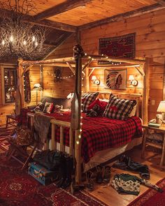 Awesome Buffalo Check Bedding, White String Lights, Twig Chandelier, Log Bed, All  In A Cabin...yes Please!