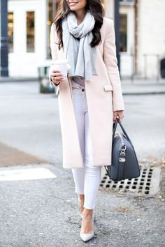 Fall / Winter - street chic style - business casual - office wear - work outfit - pale pink coat + white slim fit pants + white stilettos + light grey scarf + grey t-shirt + black handbag