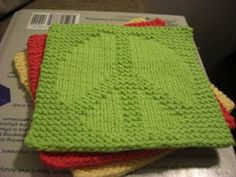 Knit Peace Sign Washcloth ~ Free Pattern