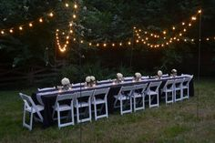 black & white stripe themed couples shower  al fresco dining, cafe lights, mason jars, hydrangeas, outdoor dining