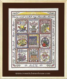 Needlecraft and crossstitch patterns Fantasy Cross Stitch, Quilts, Blanket, Herb, Frame, Pattern, Garden, Picture Frame, Grass