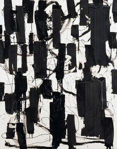 WHO: Patrick Heron ; WHAT: 'Black and White', acrylic painting; WHY: I love the use of contrast and texture and the way the artist has used mark making Black And White Painting, Black And White Abstract, Patrick Heron, Mises En Page Design Graphique, Art Blanc, Art Uk, Contemporary Art, Contemporary Printmaking, Abstract Art