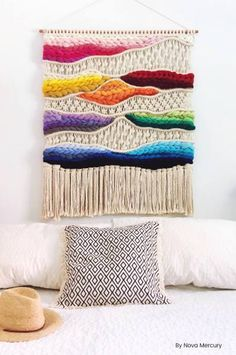 Modern Large Macrame Wall Hangings by Nova Mercury. In this Meet the Creative interview learn all the artist of handmade art and macrame wall hangings. Crafty Home Decor Macrame Design, Macrame Art, Textiles, Large Macrame Wall Hanging, Décor Boho, Color Crafts, Creative Skills, Star Quilts, Tissue Box Covers