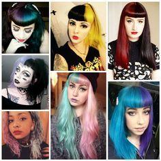 Cabelo Coloridos: Opala, Peixe Betta, Pixelado, Meio a Meio Half and Half hair