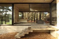 Casa Cher by BAK Arquitectos. We love the combination of a dark, charcoal tray and warm, honey-red wood, closely surrounded by pine trees. This shows just such how stunning modern architecture can be when its brought together with nature. Architecture Durable, Sustainable Architecture, House Architecture, Concrete Architecture, Concrete Houses, Interior Decorating, Interior Design, Forest House, Design Blog