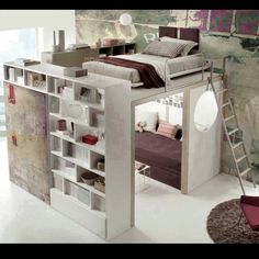 Studio Apartment Idea ? Yes. Perfect Bed and living mixed in one