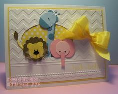 Basic Baby Animal Punch Art Card-STAMPS: Sweet Essentials  INK: Daffodil Delight  CARDSTOCK/PAPER: 12 X 12 Polka Dot Parade DSP, Whisper White, Daffodil Delight, Bashful Blue, Marina Mist, Soft Suede, Basic Black, Pink Pirouette, Pretty In Pink  ACC: Dimensionals, Tombow, Glue Dots, Daffodil Delight Seam Binding, Simply Scored Tool, Mat & Piercing Tool, Needlepoint BorderEF, Chevron EF, Big Shot, Linen Thread, Stamp-a-ma-jig, Framelits Ovals Collection (2nd from the smallest Oval)