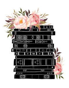 Books and Flowers Black Pink Watercolor Botanical / Alisa Bobzien