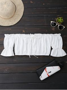 Off Shoulder Drawstring Cropped Top - WHITE S
