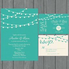 Simple wedding invitation suite , modern, teal wedding invitation, non traditional, strings of lights, reception only invite