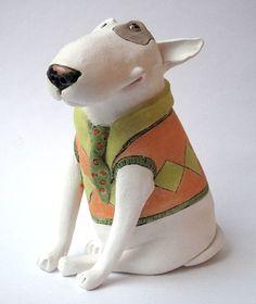 Paper Mache Sculpture, Dog Sculpture, Sculptures, Paper Mache Animals, Clay Animals, Clay Cats, Animal Heads, Paper Clay, Bull Terriers