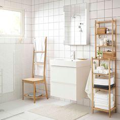 IKEA Silla con estante para toallas RÅGRUND, espejo y estantería de bambú