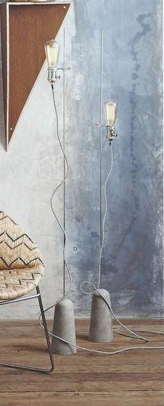 Roost Sprocket Floor Lamp by Roost. Red Floor Lamp, Brass Floor Lamp, Modern Floor Lamps, Diy Luminaire, Luminaire Design, Luminaria Diy, Concrete Lamp, Bedroom Lamps, Unique Lamps