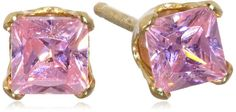 "Disney ""Princess"" Girl's 14k Pink Cubic Zirconia Stud Earrings"