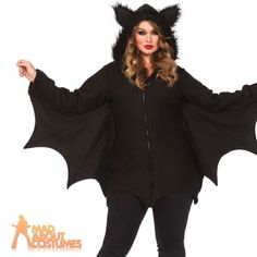 Adult plus size cozy bat costume #curvy #halloween vampire fancy dress leg #avenu, View more on the LINK: http://www.zeppy.io/product/gb/2/181880168144/