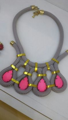 Gorgeous grey pink gold statement necklace with velvet stones. Facebook: Miss & Prince