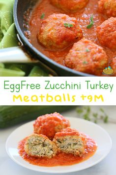 Egg Free Zucchini Feta Turkey Meatballs. Juicy and moist. Perfect for babies, toddlers…and the whole family! The tomato sauce is a lovely fresh complement to the meatballs. Zucchini Meatballs, Turkey Meatballs, Baby Foods, Led Weaning, Almond Recipes, Egg Free, Tomato Sauce, Baby Food Recipes, 12 Months