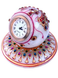 Buy Little India Gold Painted Handmade Round Marble Table Clock 177 (DLI3HCF177) from 100bestbuy.com