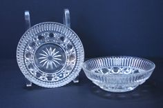 """This is a #vintage set of small bowls made by #Federal Glass Company in the 1970s.  The pattern is their """"Windsor"""" pattern which was introduced in 1974 and features a button ... #etsy #glassware #1970s #windsor #federal #bowl #dish"""