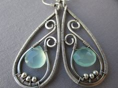 Silver Wire Earrings with Aqua Blue RESERVED for by mese9 on Etsy