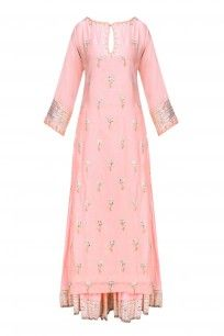 Nude pink and gold gota patti work kurta and skirt set available only at Pernia's Pop Up Shop. Kurti Designs Party Wear, Kurta Designs, Blouse Designs, Pakistani Outfits, Indian Outfits, Indian Dresses, Indian Attire, Indian Ethnic Wear, Salwar Kameez