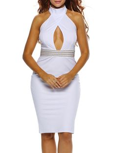 Halter Keyhole Sheath Backless Tight Club Dress - White S Mobile Cheap Party Dresses, Club Party Dresses, Sexy Party Dress, Choker Dress, Tight Dresses, Designer Dresses, Backless, Fashion Dresses, Women